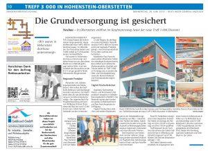 Ullmann Gruppe Zeitungsbericht-Hohenstein-Oberstetten-Eröffnung-Treff